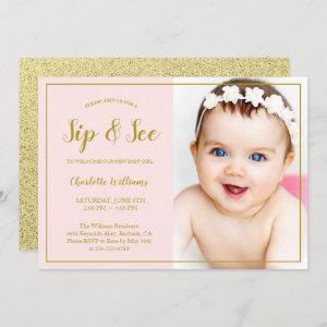Sip and See Baby Shower Pink Gold Glitter Photo Invitation