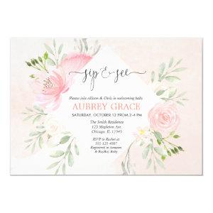Sip and See girl baby shower Floral blush pink Invitation