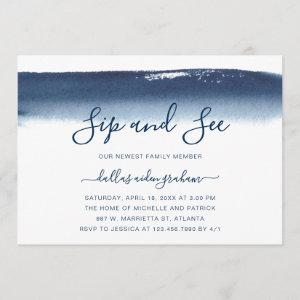 Sip and See Navy Blue Watercolor Baby Boy Invitation