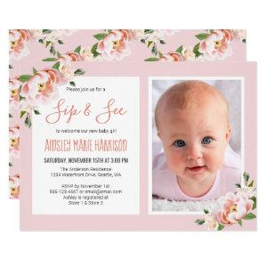 Sip & See Baby Girl Photo Blush Floral Baby Shower Invitation