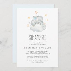Sleeping Little Elephant Baby Boy Sip and See Invitation