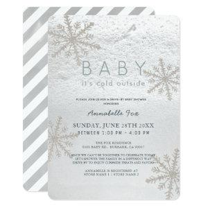 Snowflake Baby Its Cold Drive-by Baby Shower Invitation