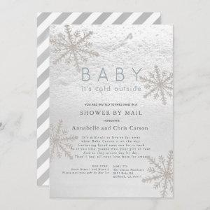 Snowflake Baby Its Cold Outside Shower by Mail Invitation