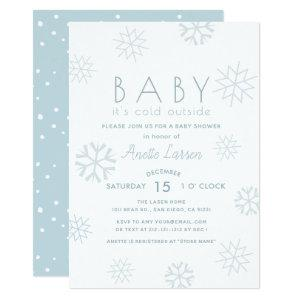 Snowflakes Baby Its Cold Outside Shower Invitation