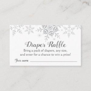 Snowflakes Baby Shower Diaper Raffle Ticket Enclosure Card