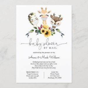 Social Distance Animals Baby Shower by Mail Invitation