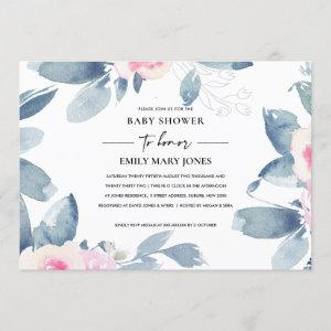 SOFT BLUSH BLUE FLORAL WATERCOLOR  BABY SHOWER