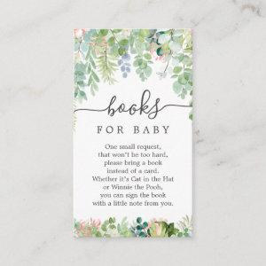 Soft Greenery Book Request Baby Shower Card