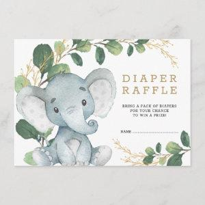 Soft Greenery Gold Baby Elephant Diaper Raffle Enclosure Card