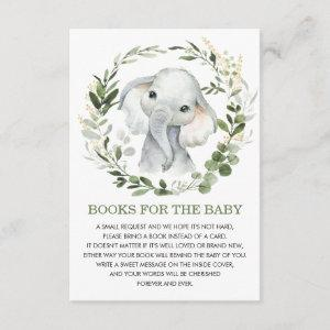 Soft Greenery Gold Elephant Books for Baby Library Enclosure Card