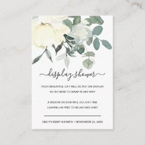 SOFT IVORY WHITE FLORAL BUNCH DISPLAY BABY SHOWER ENCLOSURE CARD