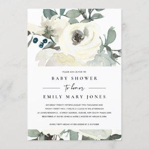 SOFT NEUTRAL IVORY WHITE FLORAL BUNCH BABY SHOWER