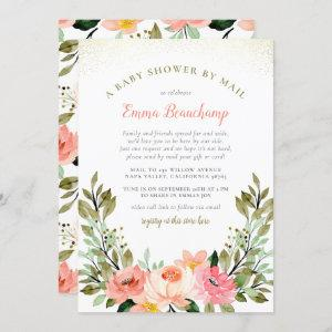 Soft Pastel Pink Rose Greenery Baby Shower By Mail Invitation