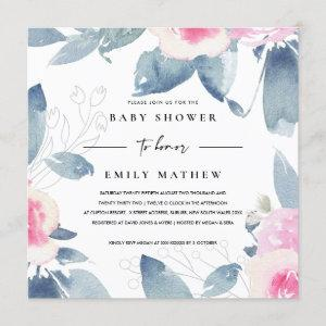 SOFT PINK BLUE FLORAL WATERCOLOR BABY SHOWER