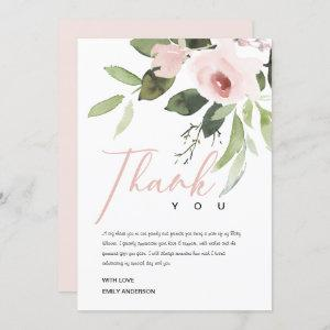 SOFT ROSE BLUSH PINK FLORAL BABY SHOWER THANK YOU