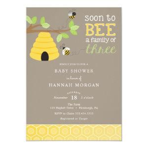 Soon to Bee a Family of Three Baby Shower Invitation