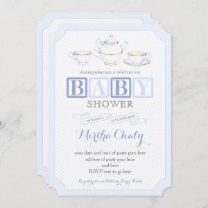Spanish Baby Shower Tea Invites for Boy in Blues