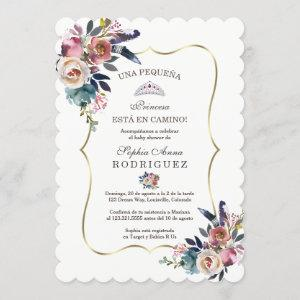 Spanish Blush Flowers Invitación de Baby Shower Invitation
