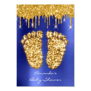 Spark Drips Gold Royal Blue Baby Shower Feet Invitation