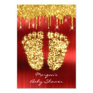 Spark Drips Gold Royal Red Baby Shower Feet Boy Invitation