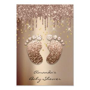 Spark Glitter Drips Rose Gold Baby Shower Foot Invitation