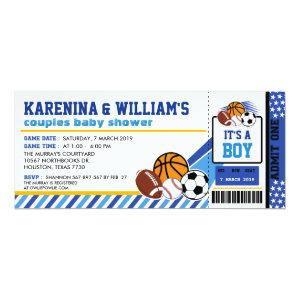 Sport Ticket Pass Couples Baby Shower Invitation