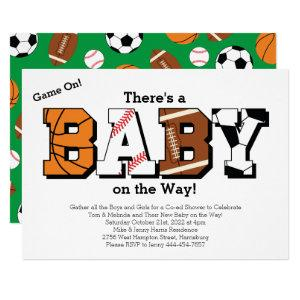 Sports Baby Shower Co-ed Green Gender Neutral Invitation