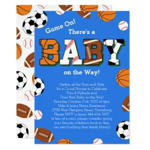 Sports Baby Shower Co-ed Theme Invitation