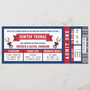Sports Ticket Baby Shower , Blue, Red