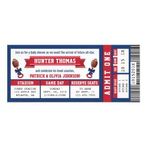 Sports Ticket Baby Shower Invitation, Blue, Red Invitation