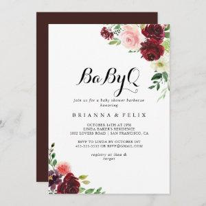 Spring Floral BabyQ Baby Shower Barbecue Invitation