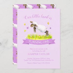 Spring lamb skipping cute purple 1st birthday invitation