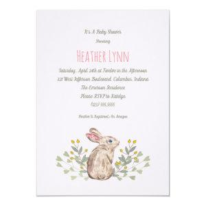 Spring Woodland Rabbit Baby Girl Shower Invitation