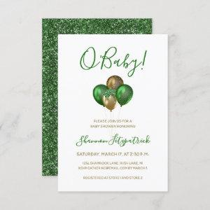 St. Patrick's Day Gold Green Balloons Baby Shower Invitation