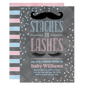 Staches or Lashes gender reveal invitation ideas