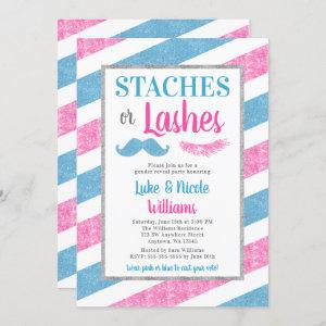 Staches or Lashes Gender Reveal Party Baby Shower Invitation