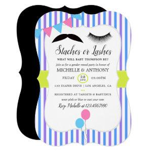 Staches or Lashes Gender Reveal Party Invitation