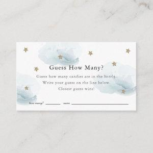 Stars Clouds Guess How Many Blue Baby Shower Game Enclosure Card