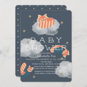 Stars & Clouds Red Pandas Baby Shower Invitation