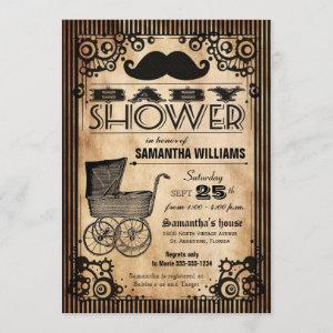 Steampunk Vintage Look Boy Baby Shower Invitation