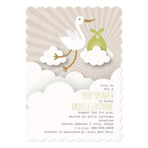Stork In The Clouds Baby Shower - Green Invitation
