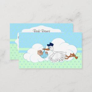 Stork with a Cute Little Baby Boy Book Request Enclosure Card