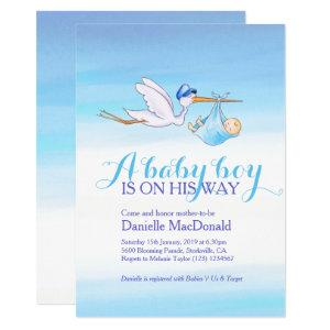 Stork with baby boy baby shower invitations
