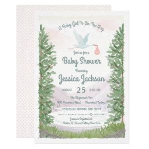 Stork's Journey Baby Girl Shower Invitation