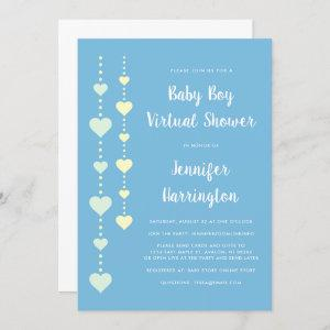 String Hearts Blue Yellow Mint Virtual Baby Shower Invitation