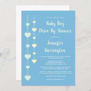 String of Hearts Blue Drive By Baby Boy Shower Invitation