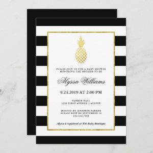Striped Golden Pineapple Tropical Baby Shower Invitation