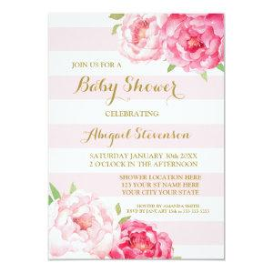 Stripes Pink Blush Watercolor Flowers Baby Shower Invitation