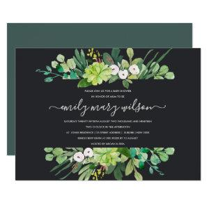 SUCCULENT FOLIAGE WREATH WATERCOLOR BABY SHOWER INVITATION