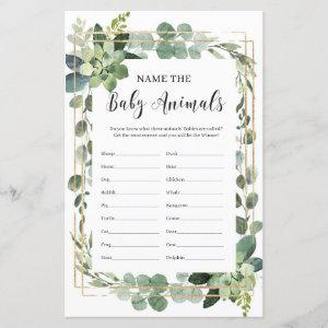 Succulent name the baby animals baby shower game